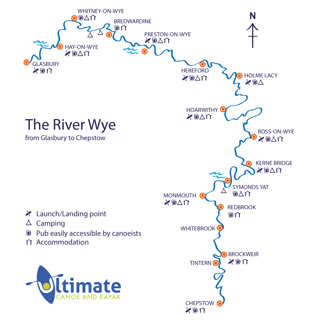 Canoeing on the river Wye, river Wye locations