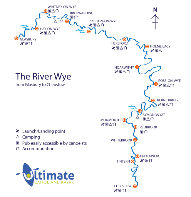 River Wye Map, River Wye Canoeing